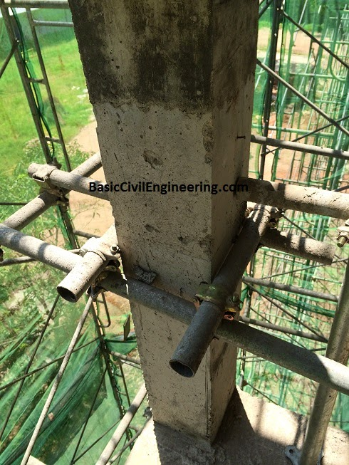 GI pipe support on column for Scaffolding